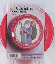 NEW Christmas Vintage Santa Cross Stitch Kit Decorative Tin #028111 NIP09