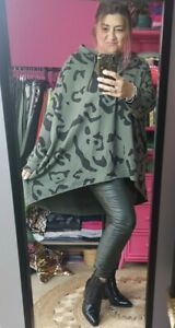 PLUS KHAKI LEOPARD PRINT HOODED OVERSIZED RELAXED SWEAT TOP Italy O/size 12-24