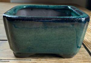 "4"" Glazed Ceramic Square Bonsai Tree Pot in Deep Sea Green"