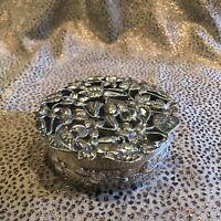 Antique English Sterling Silver .925 Hallmarked Pierced Top Round Trinket Box