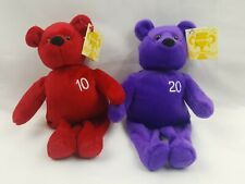 Nutrisystem Goal Bear Set 10 & 20 Pounds Weight Loss Plush Beanies Lot of 2