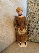 Antique Circa 1870 German All Original Kling 11� Parian China Doll Fancy Dress