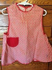 Vintage 50's Childs Red & Cream Gingham Check Full Bib Smock Apron Rickrack Trim