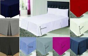 Plain Dyed Platform Base Valance Sheet Box Pleated Sheet & Pillowcases ALL SIZES