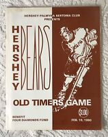 Hershey Bears Old Timers Game Program February 10 1980  Robin Burns autograph +
