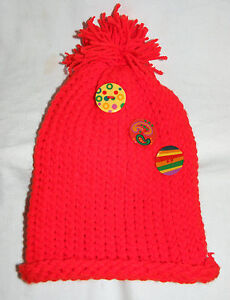 Handmade Children Winter Red Knit Hat Colorful Buttons Boys Girls Tassel Youth