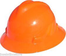 MSA HI VIZ-ORANGE Full Brim V-Gard(SLOTTED) Safety Hard Hat Ratchet SuspNEW!