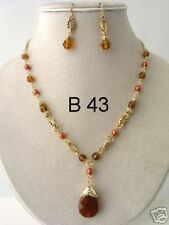 Gold and Tea Crystal Beaded with drop pendant