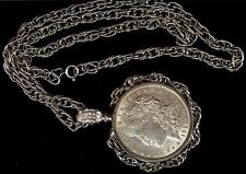 1921 Morgan Silver Dollar Necklace with 4mm Rope Silver Tone Fancy Bezel & 4 mm