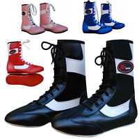 Leather Boxing Boots Shoes Rubber Sole Boots Long Anklet Junior & Adults