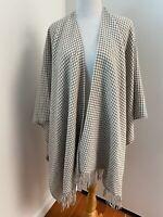 Women's Oversized Blanket Scarf Wrap Shawl Wool Fringe Houndstooth Tan White