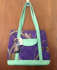 REALTREE Purple & Mint CAMO Braided FAUX LEATHER & NYLON CANVAS Large TOTE~ NWT!