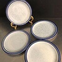 Syracuse China Kings Inn Syralite Set 4 Small Plates Blue Speckled Made USA MCM