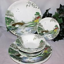 RARE WOOD & SONS SLEEPY VALLEY VINTAGE PLATES BOWLS HOUSE RIVER TRANSFER WARE