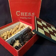 1930's Chess Set  J.W. S&S Bavaria - Vintage Wood Pieces, Travel/Compact