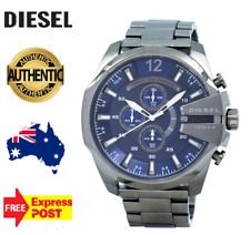 DIESEL DZ4329 Mega Chief Gunmetal and Blue Mens Watch Stainless Steel Chrono