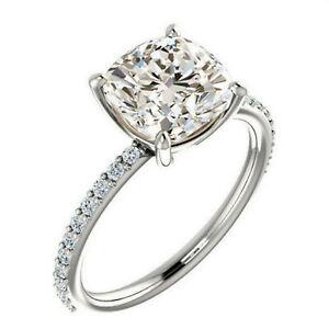 2.10 ct VVS1=.NATURAL NEAR WHITE CUSHION MOISSANITE DIAMOND 925 SILVER RING