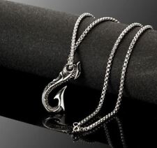 Stainless Steel 316L Silver Fisherman Fishing Fish Hook Pendant Chain Necklace