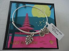 Alex and Ani PALM LEAF Bangle Bracelet Russian Silver New W/Tag Card & Box
