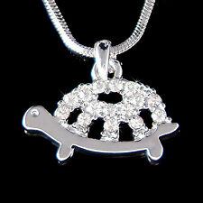 w Swarovski Crystal ~Tortoise Sea TURTLE  wildlife Animal chain Necklace Jewelry