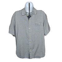 Mens Tommy Bahama Shirt Size Large Short Blue White Silk Button Up Short Sleeve