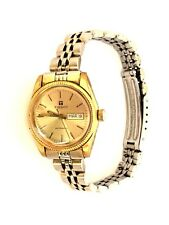 Vintage Tissot Automatic Day Date Gold Plated Swiss Made Ladies Wristwatch