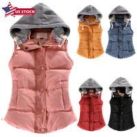 Womens Hooded Vest Coat Winter Warm Jacket Casual Sleeveless Hoodie Outerwear