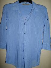 CREW CLOTHING POWDER BLUE SPOTTED VISCOSE SHIRT SIZE 8