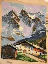 Completed Needlepoint Alpenhof Alps cottage Fleur de Paris scenic mountains