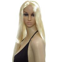 Sexy Long Straight Blonde Wig Fancy Dress Cosplay Costume Full Head Ladies Wig