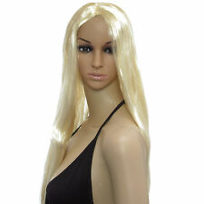 Sexy Long Straight Blonde Wig Fancy Dress Cosplay Costume Full Head Ladies Wig