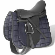"""Echt lederen paardrijzadel 17,5"""" 18 cm (5-in-1 set, zwart) paardrij zadel"""