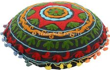 Decorative Indian Round Embroidery Suzani Cushion Cover Home Decor Cotton Pillow