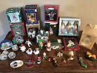 Vintage Christmas Ornaments Lot Junk Drawer Hallmark Enesco & More Santa
