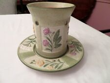 YANKEE CANDLE WAX TART MELT & MATCHING PLATE GREEN WITH FLOWERS NICE CONDITION