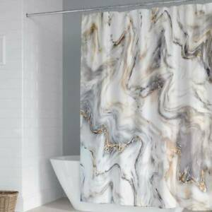 Modern Marble Pattern Fabric Shower Curtain Set & 12 Hooks Home Bathroom Curtain