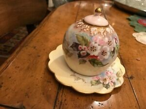 FINE DOULTON BURSLEM LIDDED BUTTER/HONEY DISH! FLORAL PINKS AND YELLOWS!