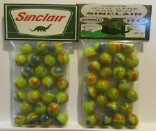 """2 Bags Of Sinclair Gasoline """"Drive With Care And Buy Sinclair"""" Promo Marbles"""