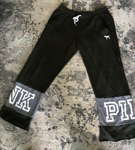 Victoria's Secret Love Pink Boyfriend Sweatpants Pockets Lounge Pant Black Sz M
