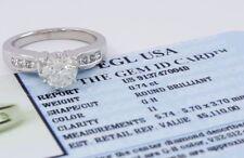 1.06 ct Platinum Round Cut Diamond Engagement Ring EGL-USA GemID Rtl $5,110