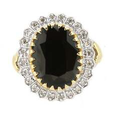 Ladies marchiato 9ct Oro Giallo Diamante e Zaffiro Cluster Anello Taglia P