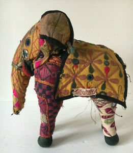 colorful HAND WOVEN VINTAGE MADE IN INDIA COTTON ELEPHANT WITH MIRRORS TASSLES