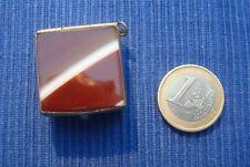 B19 Boite Pilule Timbre Métal Argenté Agate chatelaine pierre dure