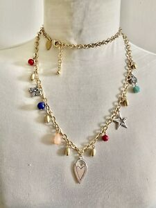 CHICO'S MATTE GOLD TONE Chain Necklace LUCITE BEADS SILVER TONE CHARMS HEART BUG