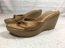 Guess Women Tan Wedge Sandal Clog Hill Shoes Size 6.5