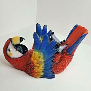 Tropical Parrot Wine Bottle Holder Whimsical Beach Bar Bird Sculpture Macaw