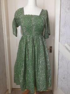 KEMI TELFORD Free Size Green Snake Print Dress-BNWT- Up To Size 18- Pockets