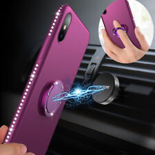 For Apple iPhone XS Max XR 8 7 Plus Bling Slim Case Car Holder Soft Rubber Cover