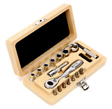 Felo Classic - 18 Piece Socket & Bit Set with Ratchet and Wood Case - Brand new