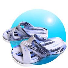 EVA Badelatschen Bunt Badeschuhe Gr. 37 38 39 40 41 42 weiß blau geflammt x7